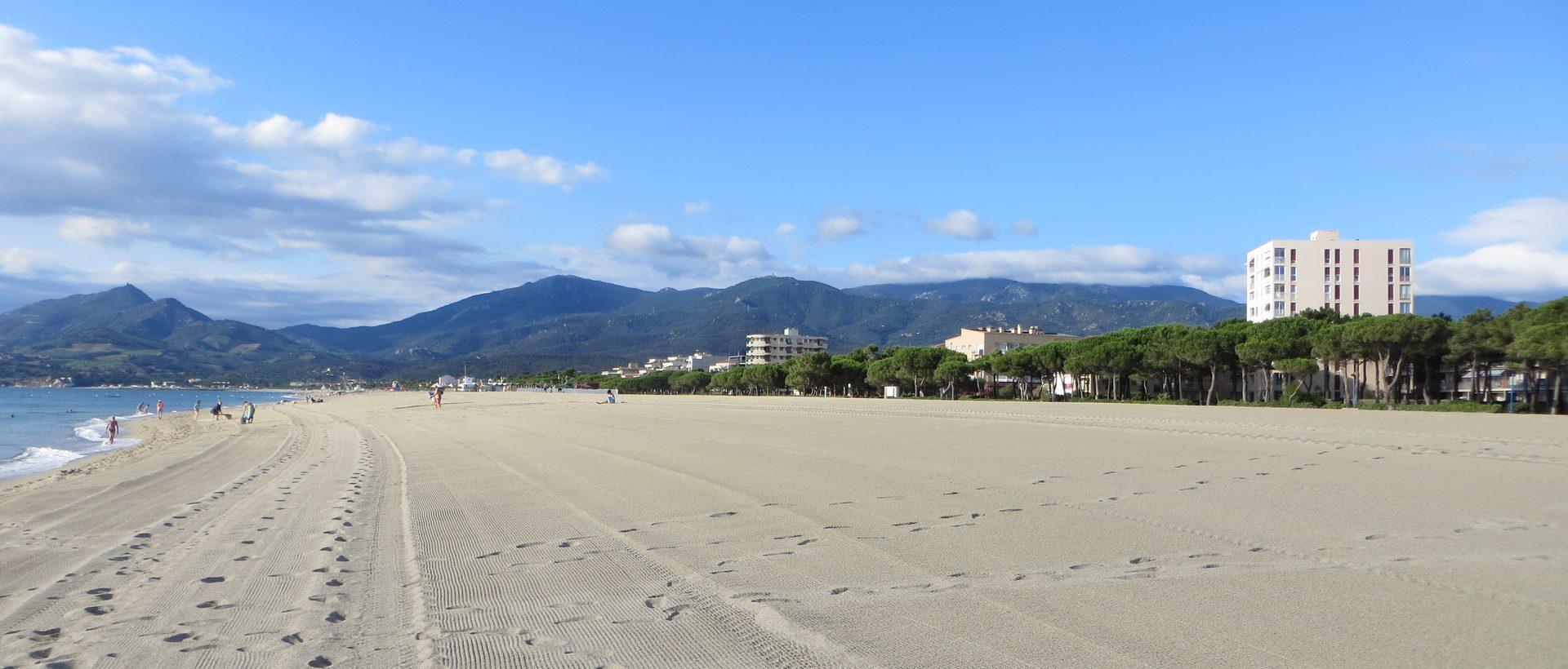 Photo de la plage et des pyrénées en face du studio